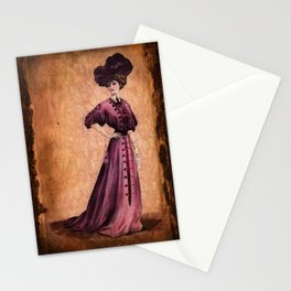 Girl in purple dress, Edwardian style Stationery Cards