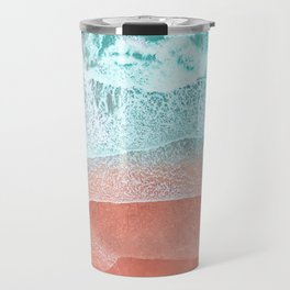 The Break - Turquoise Sea Pastel Pink Beach II Travel Mug