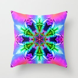 Cannabaphomet (Psychedelic Glitch Mandala Remix Version) Throw Pillow