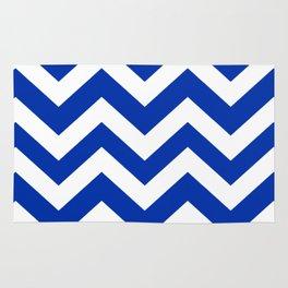 International Klein Blue - blue color -  Zigzag Chevron Pattern Rug