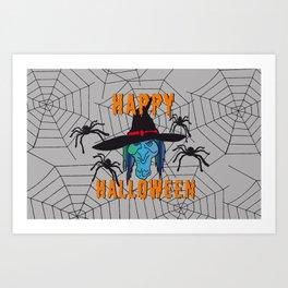 turquoise Witch Happy Halloween Art Print