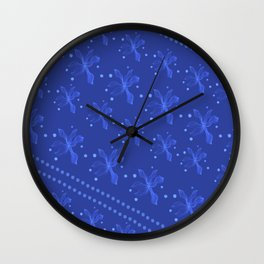 blue Lily night with pearl Wall Clock