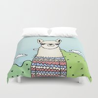 lama Duvet Covers featuring Lama glama by Pinut Brein