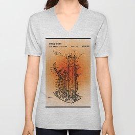 Bong Patent Blueprint Drawings Sepia Unisex V-Neck