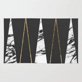Long Modern Marble Black and Gold Triangles Rug