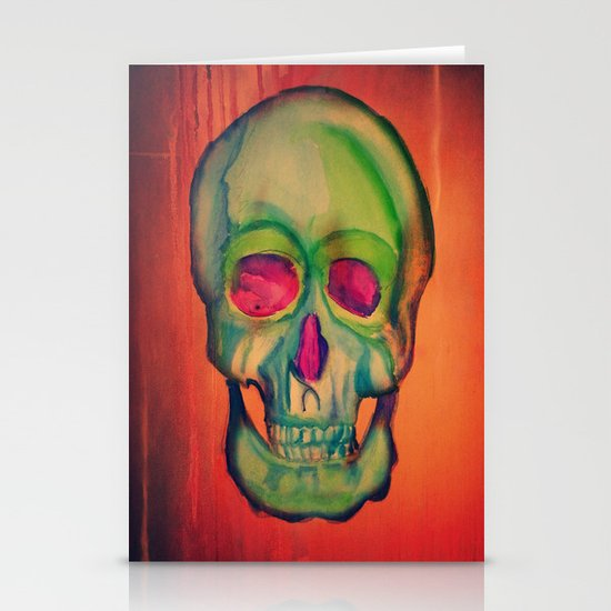 Watercolor skull/Green Stationery Cards