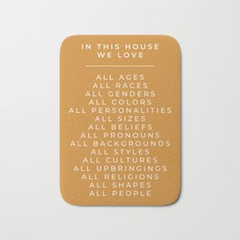 In This House Diversity Acceptance Print - American English - Mustard Yellow Bath Mat