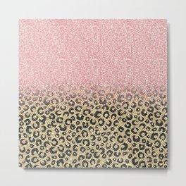 Elegant Rose Gold Glitter Black Leopard Print Metal Print