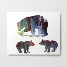 Bear Mother And Cubs Metal Print