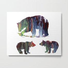 Bear Mother And Cubs Metal Print