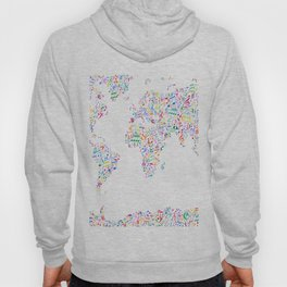 Music Notes Map of the World Hoody