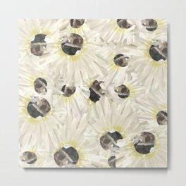 Citrine White Floral Metal Print