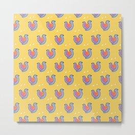 Birds and Hearts on Primrose Yellow Metal Print