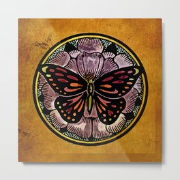 Butterfly on Lotus Round: Having Fun with Vintage Graphics Metal Print