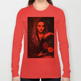 Jesus Helguera Painting of a Calendar Girl with Dark Shawl Long Sleeve T-shirt