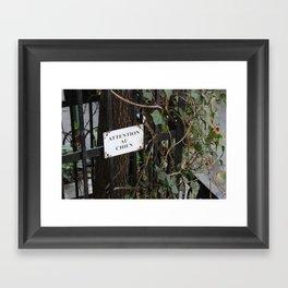 Attention Au Chien Framed Art Print