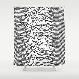 Joy Division - Unknown Pleasures (Black Lines) Shower Curtain