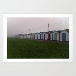 Preston Beach Huts On A Foggy Morning Art Print