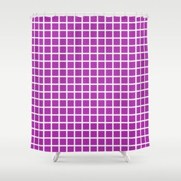 Grid (White & Purple Pattern) Shower Curtain
