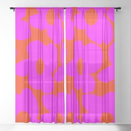 Pink Retro Flowers Orange Red Background #decor #society6 #buyart Sheer Curtain
