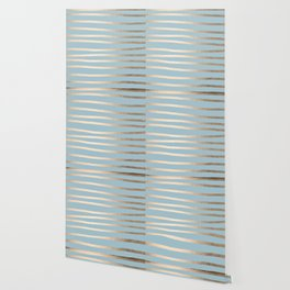 Abstract Drawn Stripes Gold Tropical Ocean Sea Blue Wallpaper