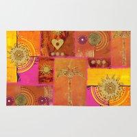 oriental Area & Throw Rugs featuring Oriental Sun by LebensART