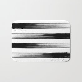 Japanese calligraphy stroke stripe -Zen style, black and white Bath Mat