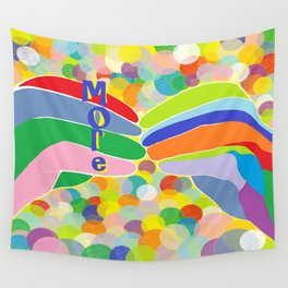 "ASL ""More"" on a Bright Bubble Background Wall Tapestry"