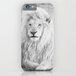 Albino Lion (Black and White) iPhone Case
