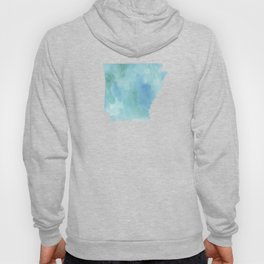Watercolor State Map - Arkansas AR blue greens Hoody
