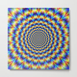 Psychedelic Pulse in Blue and Yellow  Metal Print