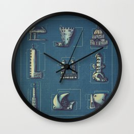 Blueprint for Architectural Growth Wall Clock