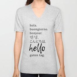 Hello in Many Languages Unisex V-Neck