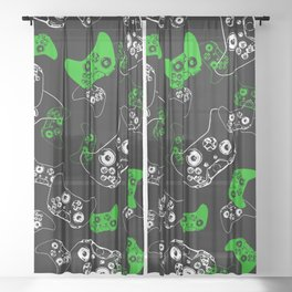 Video Game Black & Green Sheer Curtain