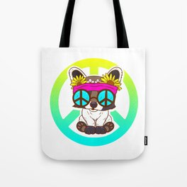 Cute Hippie Puppy Peace Sign design For 60s and Dog Lover Tote Bag