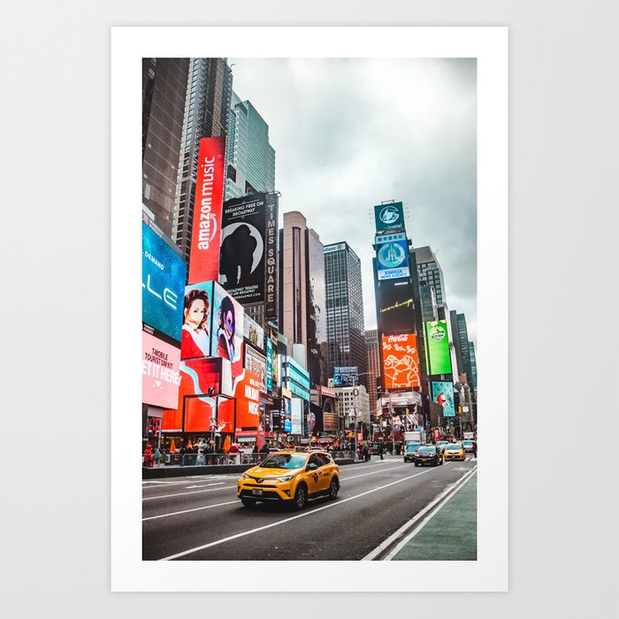 045d936358ae9 Typical iconic scene in Times Square New York City, with colorful billboard  ads and yellow taxi cabs Art Print by laurensquirephotography