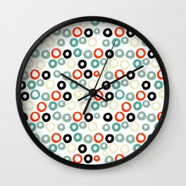 Hand painted pastel red green ivory watercolor polka dots Wall Clock