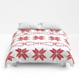 Scandinavian inspired print with red mini stars Comforters