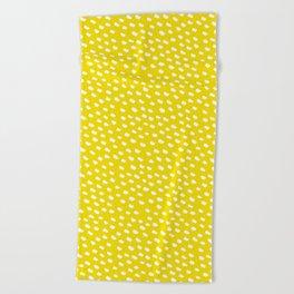 Brush Dot Pattern Yellow Beach Towel