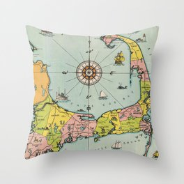 Vintage Map of Cape Cod Throw Pillow