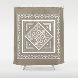 Modern Tribal Geometric Square Pattern in Taupe Shower Curtain