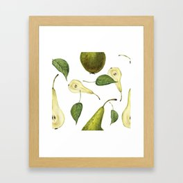 Watercolor seamless pattern with pears Conference and leaves. Botanical isolated illustration.  Framed Art Print