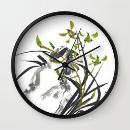 Green Orchid One Wall Clock