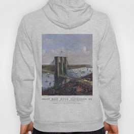 NEW YORK  East River BRIDGE city old map Father Day art print poster Hoody