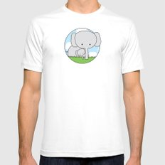 Mommy Elephant Mens Fitted Tee White SMALL