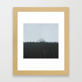 Minimalist Landscape Photo Tall Trees Mountain In The Background Framed Art Print