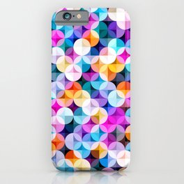 Retro petal diamond geometric colorful abstract hand drawn illustration pattern iPhone Case