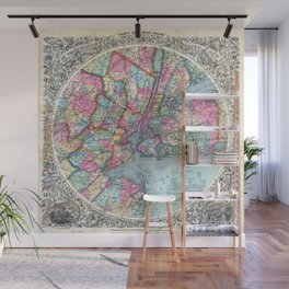 VINTAGE NEW YORK CITY MAP 1879 Wall Mural