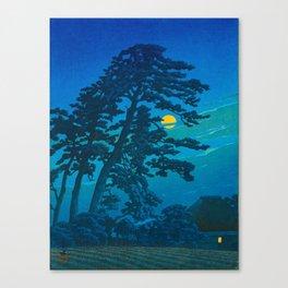 Vintage Japanese Woodblock Print Kawase Hasui Haunting Tree Silhouette At Night Moonlight Canvas Print
