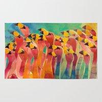 flamingos Area & Throw Rugs featuring Flamingos by takmaj